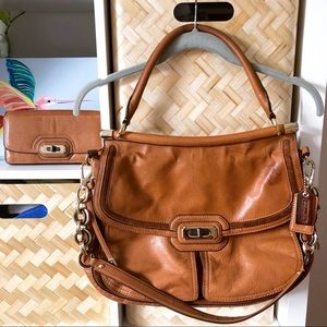 Coach Chelsea Leather Dowel Flap Satchel + Wallet